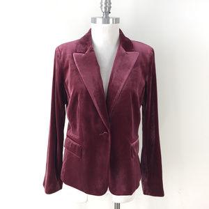 Tahari 10 Burgundy Velvet Blazer Jacket Career